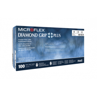 GROUND SHIP GLOVE M 100/BX  Latex Microflex DGP-350-M Diamond Grip Plus  Exam Grade